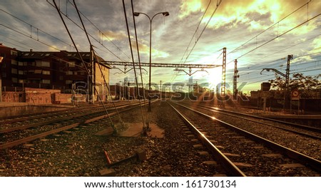 The way forward railway at sunrise, outdoor landscape