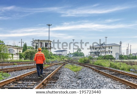 The way forward railway,worker checking - stock photo