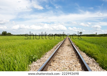 The way of a train through the wide green fields of the countryside.
