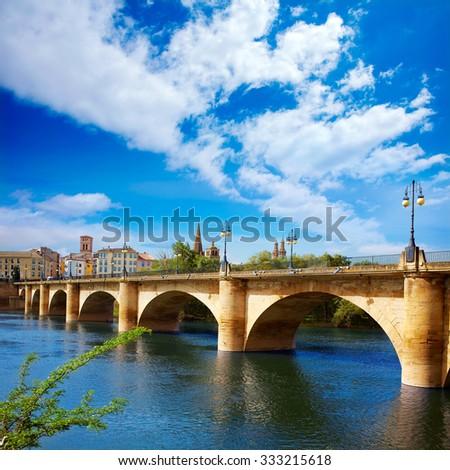 The Way of Saint James in Logrono bridge Ebro river at Spain - stock photo