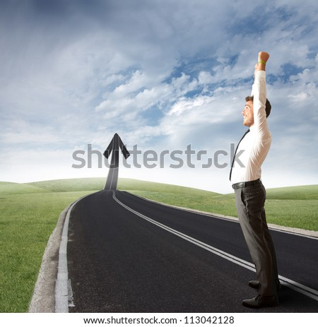 The way of success of a businessman - stock photo