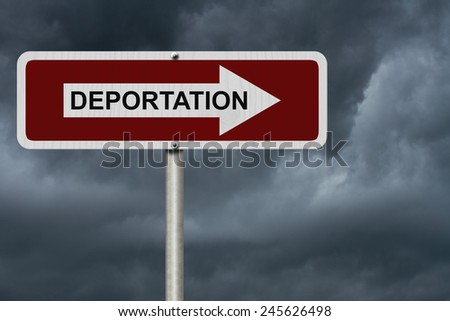 The way to Deportation, Red and white street sign with word Deportation with stormy sky background - stock photo