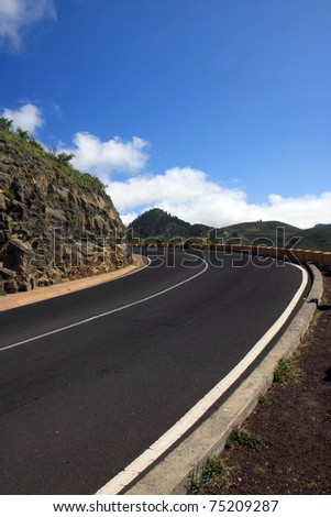 the way to El Teide volcano, Tenerife, Canary islands - stock photo