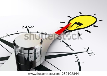 the way towards idea concept with compass rose and magnetic needle on white background - stock photo