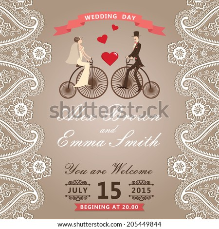 The wedding invitation with groom ,bride in Retro bicycle with vignettes,ribbon,Imitation lace in Paisley motif.Wedding invitation design template.