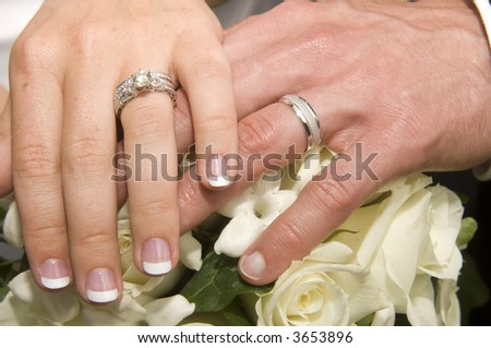 The wedding rings of a recently married couple
