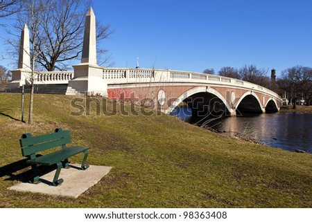 The Weeks Memorial Footbridge in Boston, Massachusetts overlooking Cambridge and the site of Harvard University on a sunny spring day. - stock photo