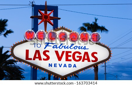 The Welcome to Fabulous Las Vegas at dusk - stock photo