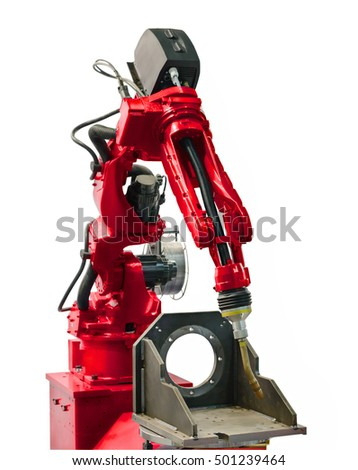The welding robot manipulator arm. Isolated on white background.
