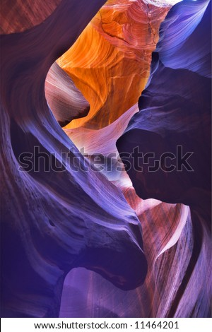 """The well-known canyon of """"Antelope"""" in American Indian reservation  at midday - stock photo"""