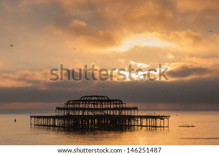 The West Pier at sunset, Brighton, UK