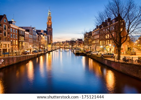 The Westerkerk church in Amsterdam, Netherlands at night - stock photo