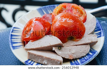 The western breakfast of ham and vegetable fried - stock photo