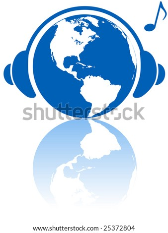 The western hemisphere wears headphones to hear Earth music world with musical note and reflection. - stock photo