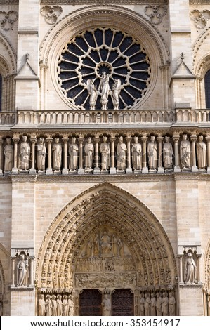 The Western Rose Window Kings Statues And Architectural Details Of Catholic Cathedral Notre