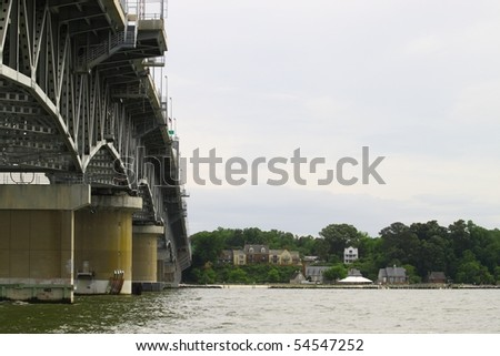 the western side of the George P Coleman bridge from Gloucester point - stock photo
