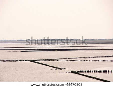 The wetlands of Holwerd in the Netherlands - stock photo