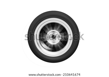 The wheel spinning isolated on white background.