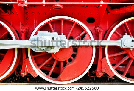 The wheels of an old steam engine.
