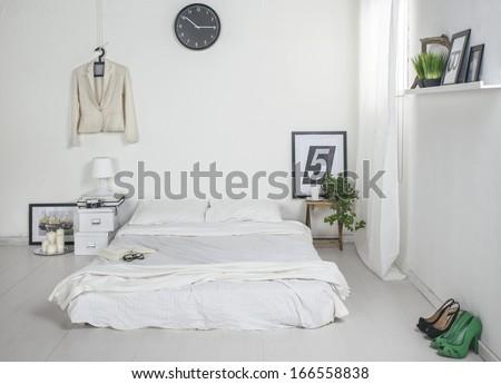 The white bedroom. - stock photo