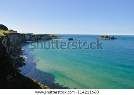 The White Cliffs of Carrick A Rede in Northern Ireland - stock photo