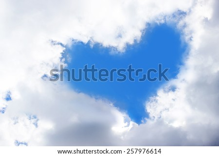 the white cloud and blue sky, which composed a blue heart as background