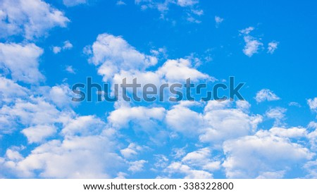 The white clound on the blue sky background
