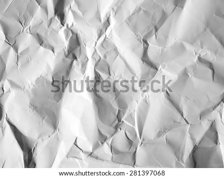 the white crumpled paper as a background - stock photo