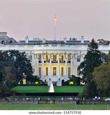 The White House at dusk - Washington DC, United States - stock photo