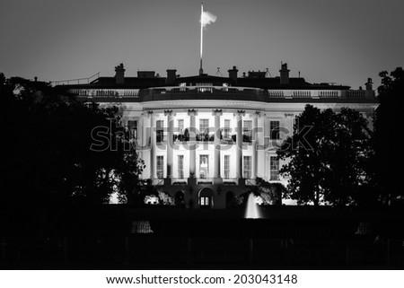 The White House at night - Washington DC - Black and White  - stock photo