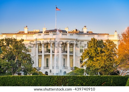 The White House illuminated by evening sun, Washington DC - stock photo