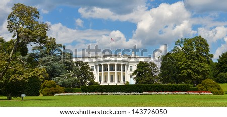 The White House in a dramatic cloudy summer day, Washington DC United States - stock photo