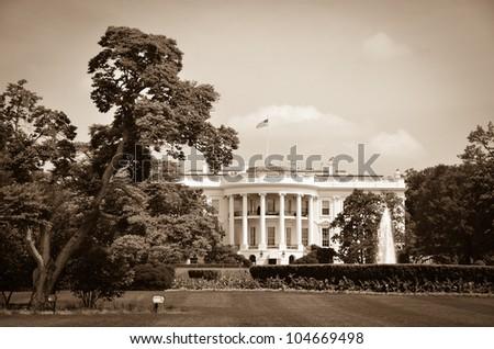 The White House in sepia - Washington DC United States - stock photo