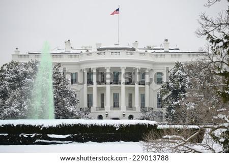 The White House in snow - Washington DC, United States  - stock photo