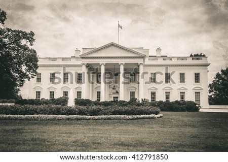 The White House in Washington D.C. at a cloudy day, Executive Office of the President of the United States, old image style