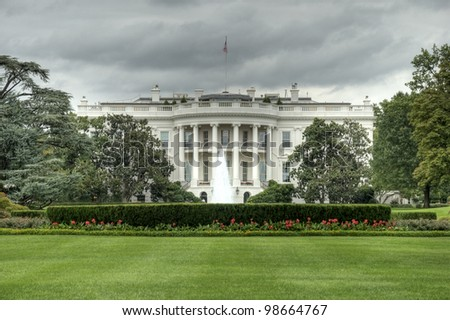 The White House in Washington D.C., Executive Office of the President of the United States, Weisses Haus in Washington, Amtssitz und offizielle Residenz des Praesidenten der Vereinigten Staaten, HDR