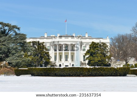 The White House in Winter - Washington DC, United States - stock photo
