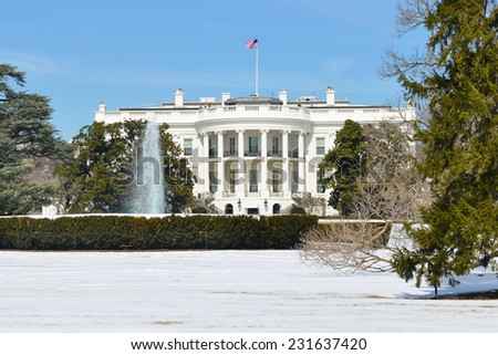 The White House in Winter - Washington DC, United States of America - stock photo