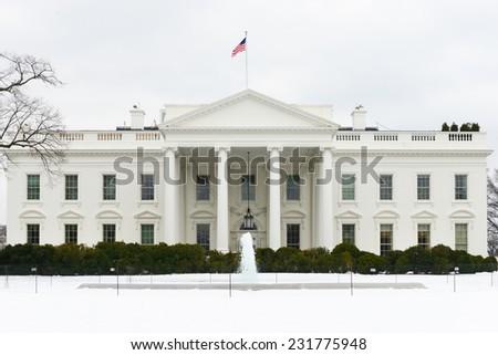 The White House in Winter - Washington DC, United States of America - stock photo