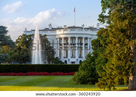 The White House on a beautiful summer evening, Washington, DC.
