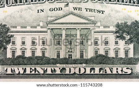 the white house on the twenty dollar bill - stock photo