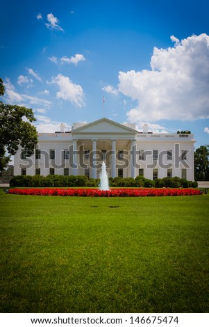 The White House, residence of the President of the United States of America. - stock photo