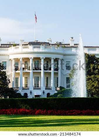 The White House, South Lawn view, Washington DC, USA.