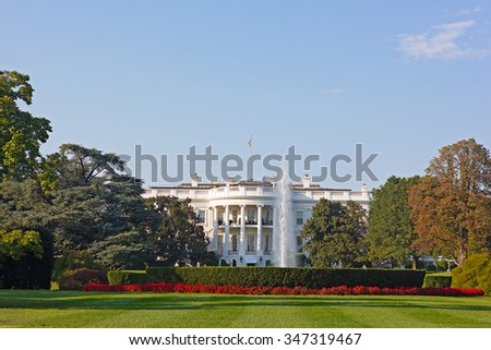 The White House, Washington DC, USA. The White House and beautifully maintained garden in early autumn.