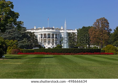 The White House, Washington DC, USA. The white house lawn and garden in early fall.