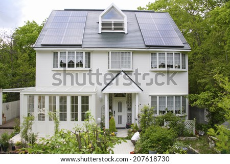 The White House With Solar Panels - stock photo
