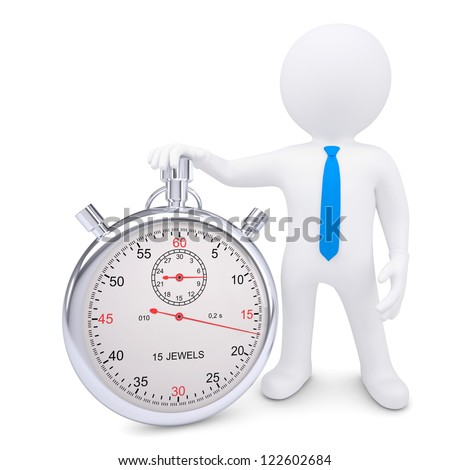 The white man and the metal stopwatch. Isolated render on a white background - stock photo