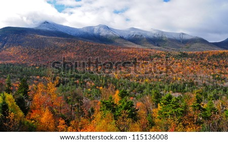 The White Mountains of New Hampshire in the fall, USA - stock photo
