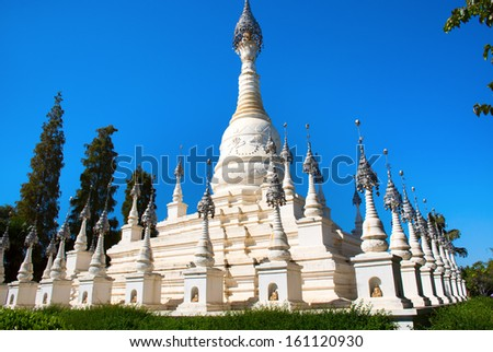The white pagoda in the Yunnan Nationalities Village, at Kunming, Yunnan - stock photo