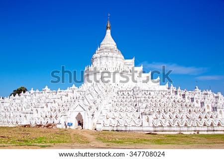 The white pagoda of Hsinbyume (Mya Thein Dan pagoda ) paya temple, Mingun, Mandalay - Myanmar - stock photo